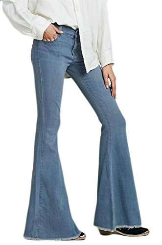 Pandapang Womens Washed Faded Skinny Classic Low-Rise Flared Pants Trousers Light Blue Medium Classic Low Rise Trousers