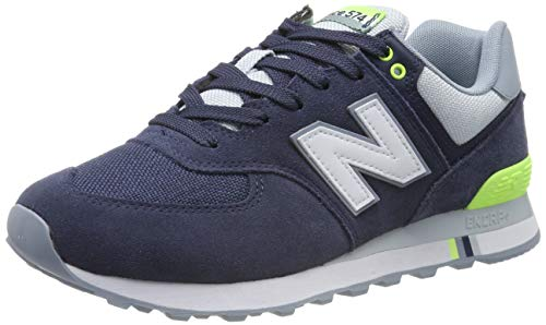 New Balance - Mens ML574V2 Shoes, Size: 9 D(M) US, Color: Nb Navy/Bleached Lime
