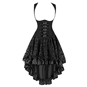 Kimring Women's 2 Pcs Steampunk Gothic Underbust Corset & Lace Dancing Skirt Set