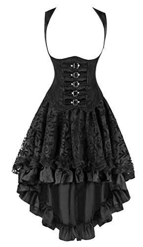 Corset Pinstripe (Kimring Women's 2 Pcs Steampunk Gothic Underbust Corset with Lace Dancing Skirt Set Black XX-Large)