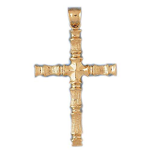 Jewels Obsession Cross Pendant   14K Yellow Gold Bamboo Cross Pendant - 55 ()
