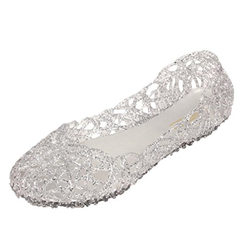 Price comparison product image Hunzed Women Fashion Slippers Sparkling Jelly Sandals Shoe Ladies Casual Leisure Shoes Shiny Baotou High Elastic Shoes (Silver,  38)