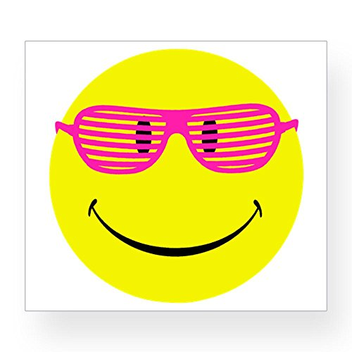 4.75 x 4.25 Inch Sticker Neon Yellow Smiley Face Sunglasses