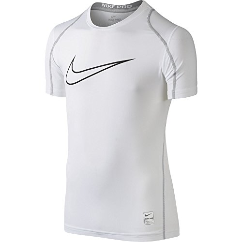 Nike Boys' Big Little Kids Pro Fitted Hbr Short Sleeve Shirt, White/Matte Silver/Black, Large