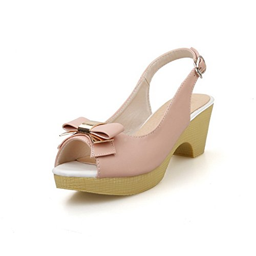 Women's Solid AllhqFashion Material Pink Kitten Buckle Sandals Soft Toe Peep Heels dHXUqH
