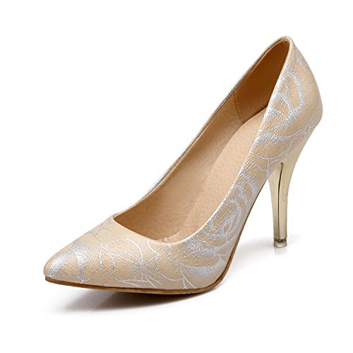 High Heels Leather Women Pumps Pointed Toe High Heels Shoes Woman Plus Size Beige