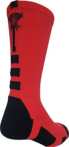 - TCK Sports Midline Lacrosse Logo Crew Socks (Red/Black, Medium)