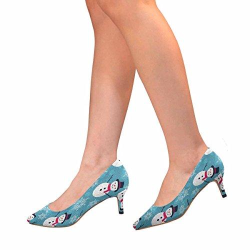 Scarpe Da Donna Low Cost Scarpe Col Tacco Basso Gonnellino Svasato Scarpe Natalizie Pupazzo Natalizio Multi 1