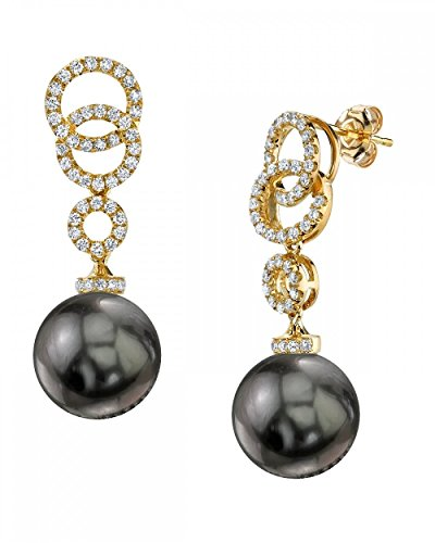 THE PEARL SOURCE 18K Gold 12-13mm Round Genuine Black Tahitian South Sea Cultured Pearl Diamond Link Earrings Set for Women - Diamonds 13mm Tahitian Pearl Ring