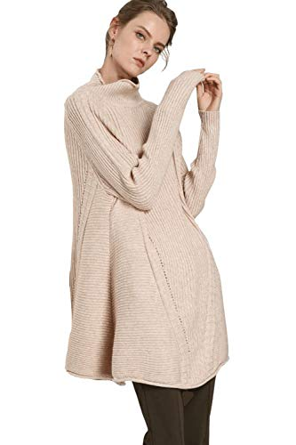 Women's Mock Turtleneck Pullover Sweater Tunic Cashmere Over Sized Warm Long Sleeve Rib Knit (M, Beige)