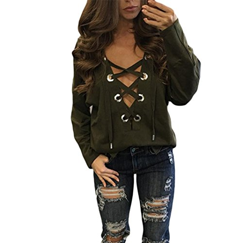 Sweatshirt Military Logo (Gallity Hot Sale Womens Plus Size Short Sleeve Polka Dot Lace up Sexy Deep V Neck T-shirt for Party (S, Army Green))