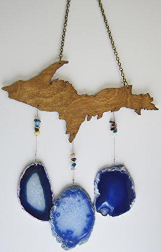 wind chime blue Agate slice geode windchime Michigan Upper peninsula U P wood stone sun catcher wind chime mobile window decor hanging