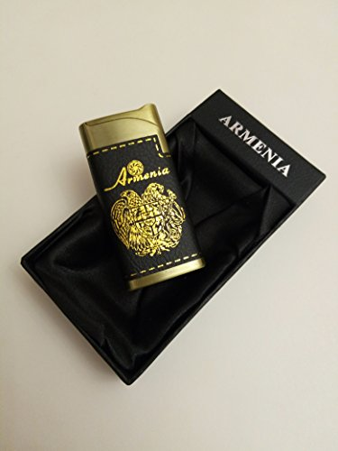 Arms Cigars - Lighter with Engraved Coat of Arms and Eternity Symbol, Leather Cigar Lighter, Armenian Lighter