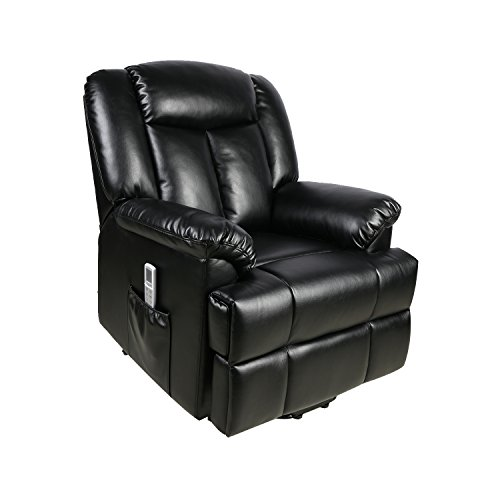 FVD Electric Power Lift Recliner Chair, 8 Point Massage Plus Heated System Classic and Traditional Executive Lounge Sofa Chair with Breathable Air Leather, Black