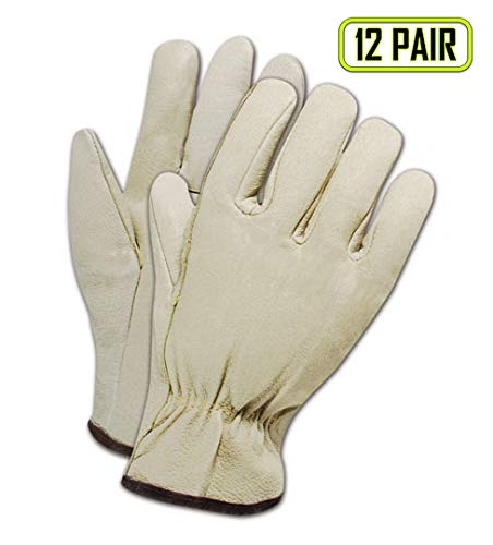 Drivers Straight Thumb - Magid Glove & Safety B6741E-S Roadmaster B6741E Standard Pig Grain Driver with Straight Thumb, Grain, Small, Tan (Pack of 12)
