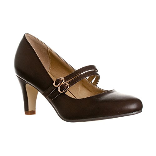 Riverberry Women's Mila Chunky, Mid Heel Mary Jane Pump Heels, Coffee PU, 7.5 -