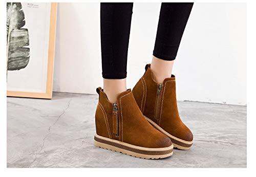 Shukun Stiefeletten Damen Schuhe Herbst und Winter Damen Schuhe Casual PU Muffin Stiefel in der erhöhten dicken Plattform Persönlichkeit Wedge