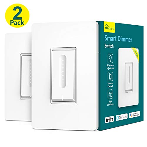 Smart Dimmer Switch, Treatlife WiFi Light Switch for Dimmable LED/Halogen/Incandescent Bulbs, Compatible with Alexa, Google Assistant/IFTTT, Remote Control, Single-Pole, Neutral Wire Required (2 PACK)