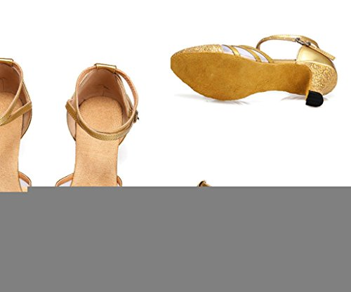 Meijili - Zapatillas de danza para mujer dorado