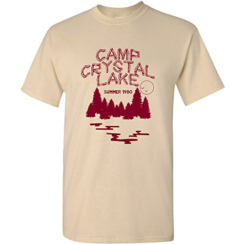 UGP Campus Apparel Camp Crystal Lake - Funny 80s Horror Movie Halloween T-Shirt - 3X-Large - Sand