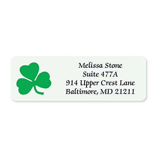 Shamrock Designer Rolled Address Labels - 250 Labels per Roll - 2 1/2 Inches Long x 3/4 Inch High - Elegant Plastic Dispenser Included