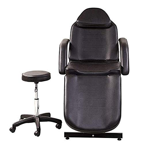 Black Color Facail Table Bed Chair for Beauty Salon Massage Waxing Makeup include One Stool in Free