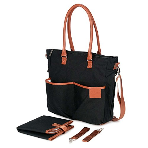 Canvas Diaper Bag In Tan And Black - 2
