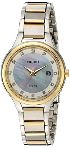(Seiko Women's Diamond Dial Dress Japanese-Quartz Watch with Stainless-Steel Strap, Two Tone, 15 (Model: SUT318)