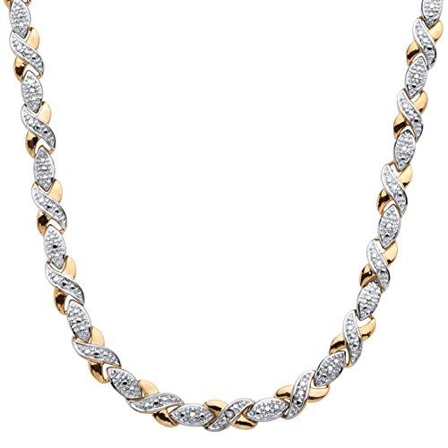 Palm Beach Jewelry White Diamond 18k Yellow Gold-Plated X & O Necklace 17