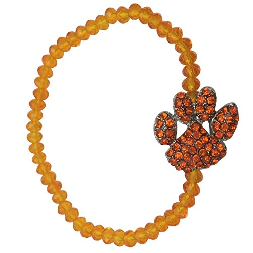 Paw Print School Spirit Mascot Glass Beaded Stretch Bracelet - Assorted Colors (Orange)