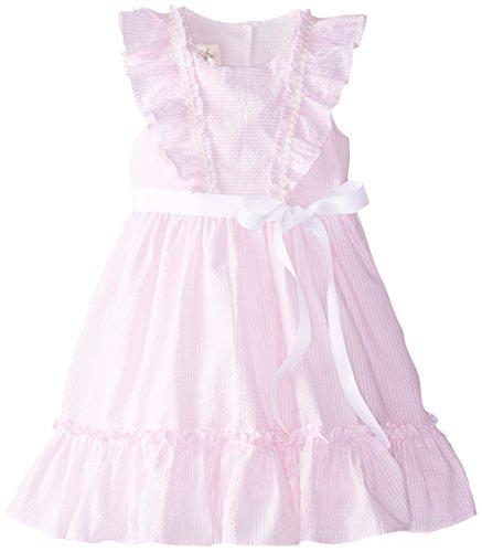 Laura Ashley London Little Girls' Seersucker Ruffle Dress, Pink, 6X