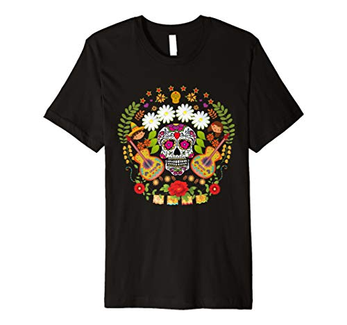 Day Of The Dead Tee Shirts Mariachi Guitar Skull T-shirt ()