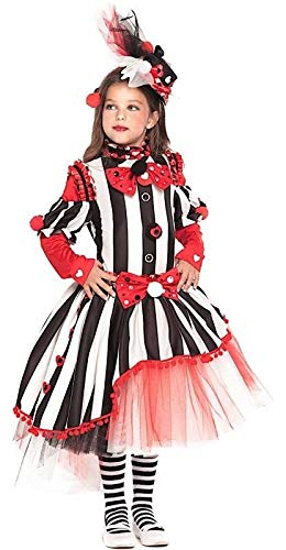 Italian Made Girls Deluxe Monochrome Carnival Clown Circus Halloween Fancy Dress Costume Outfit 3-10 Years (10 (Monochrome Halloween Costume)