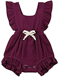 c2cf85b91a6b Infant Newborn Baby Girl Romper Bodysuit Ruffle Bowknot One-Piece Jumpsuit  Outfit Clothes Summer 0