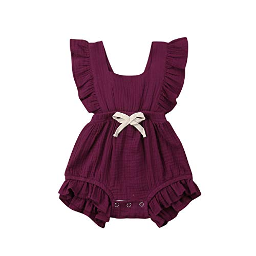 Calsunbaby Infant Rompers Kids Baby Girl Twins Outfit Sleeveless Ruffled Jumpsuit Bodysuit (Wine Red, 12-18 Months)