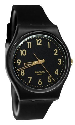 Swatch GB274 Golden Tac Black Gold Analog Dial Silicone Strap Unisex Watch New ()