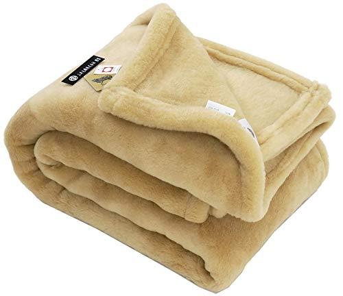 掛け シングル 公式三井毛織 日本製 洗える メリノウールマイヤー掛け毛布 シングルサイズ ウールマーク付き ベージュ B075WGZ2ZG