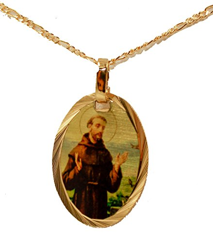 Diamantados of Florida San Francisco De Asis Medal - St. Francis Assisi Medal Pendant 14k Gold Plated Medal with 18 Inch Chain