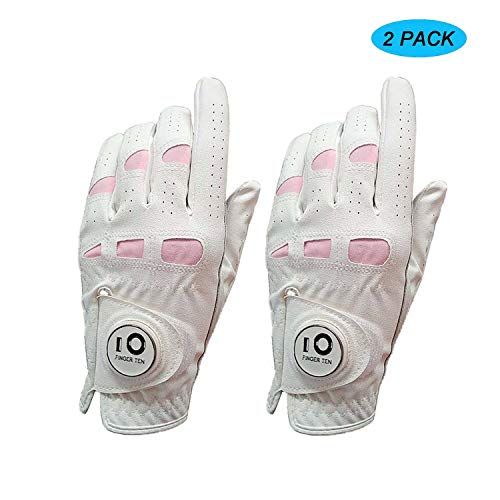 Amy Sport Golf Gloves Women Leather Ball Marker Value 2 Pack Left Right Hand, All Weather Grip Pink Fit Woman Ladies Girl Size Small Medium Large XL (Large, Worn on Left Hand)