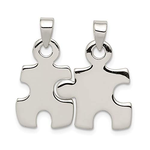 925 Sterling Silver Puzzle Pieces Pendant Charm Necklace Man Fine Jewelry Gift For Dad Mens For Him