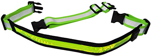 LED Reflective Belt with Extension Belt - High Visibility Gear for Running, Cycling, Walking - Safer and Brighter Than a Reflective Vest - Green, Red, and Blue Running Light (Green)