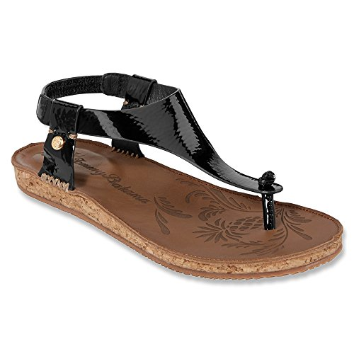 Black Crinkled Patent Leather (Tommy Bahama Women's Tanna Sandal,Black Crinkled Patent Leather,US 6 B)