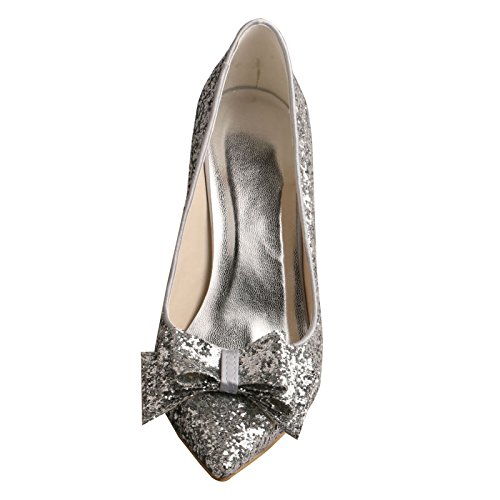 Prom Pointed Wedding Stiletto Shoes Bow Glitter Silver Wedopus Toe Bridal MW449 qpZxn5Y7