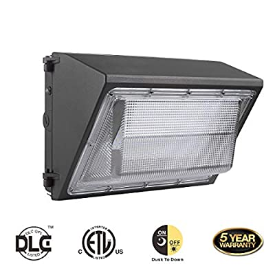 DE-Power LED Wall Pack Light Fixture with Dusk-to-Dawn Photocell,HPS/HID Replacement, 5000K,IP65 Waterproof, Outdoor Industrial/Commercial Area Light
