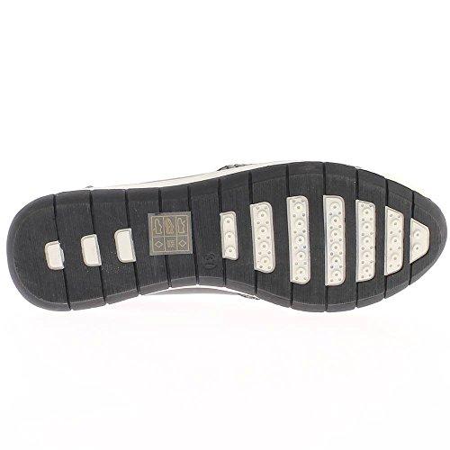 Zeppa sneakers nero donne bi materia punta d'oro