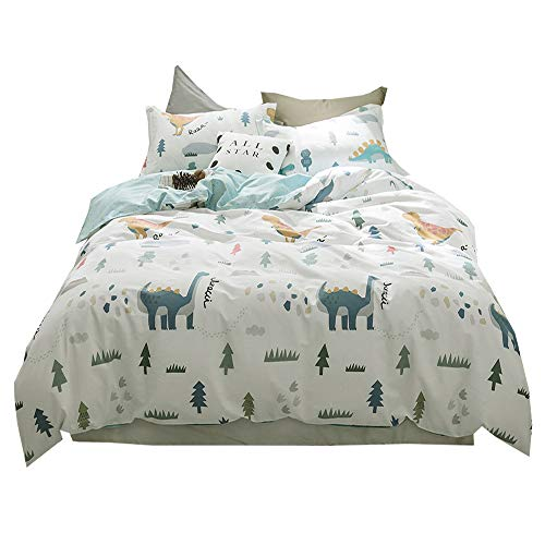 AMWAN Cartoon Dinosaur Printed Kids Twin Duvet Cover Set Blue Reversible Bedding Set 100% Cotton Girls Boys Duvet Cover Set 3 Piece Children Bedding Cover Set Twin Duvet Cover Set for Teens, Style2 by AMWAN
