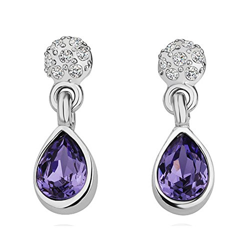 European National Dress Costumes (Prestep Teardrop Inlaid Rhinestone Dangle Earrings(Purple))