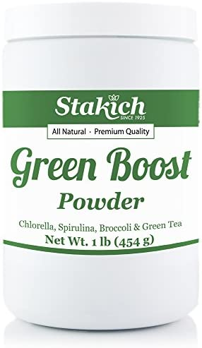 Stakich Chlorella, Spirulina, Broccoli, Green Tea Powder Mix – 1 Pound – Pure
