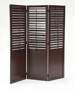 Bernards Plantation Shutter Folding Screen, Dark Cherry