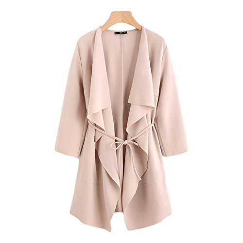 3 4 Length Coats - Micca Bacain Waterfall Collar Pocket Front Wrap Trench Coat Peach 3/4 Sleeve Knee Length With Belts Women Coats Pink L